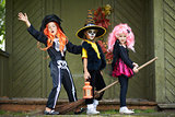 Halloween girls on broom