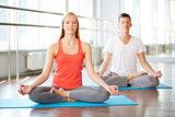 Meditating in gym