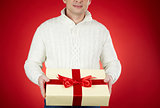 Man with Christmas gift
