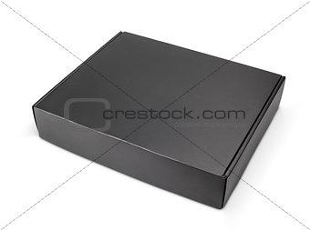 Closed blank black carton box on white