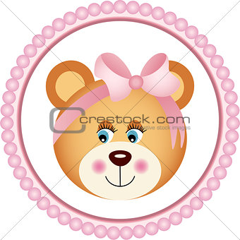 Girl Teddy Bear Sticker