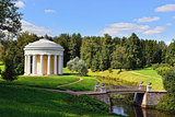 Summer landscape of the Pavlovsk garden. Temple of Friendship