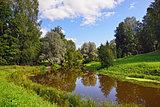 Summer landscape in Pavlovsk garden.