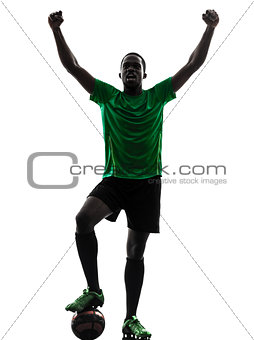 african man soccer player  celebrating victory silhouette