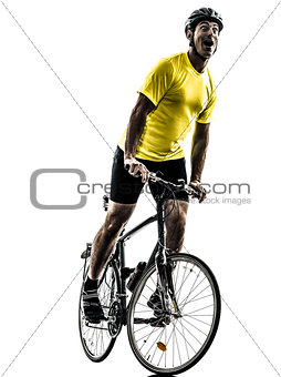 man bicycling  mountain bike happy joy silhouette