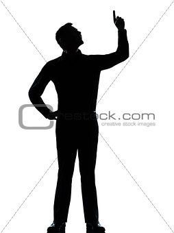 one business man pointing up happy silhouette