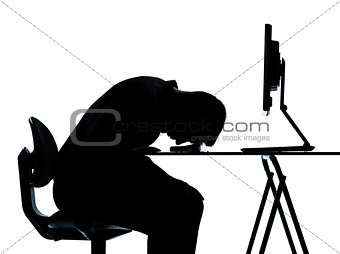 one business man silhouette computer computing sleeping tired