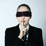 blindfold business woman silence