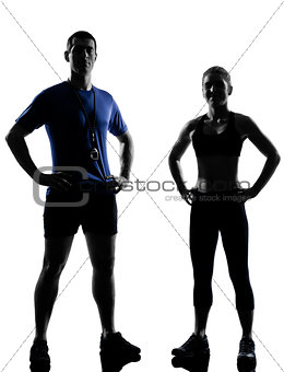 couple woman man exercising workout aerobic instructor