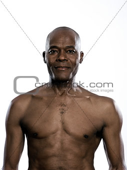 Portrait of smiling shirtless man
