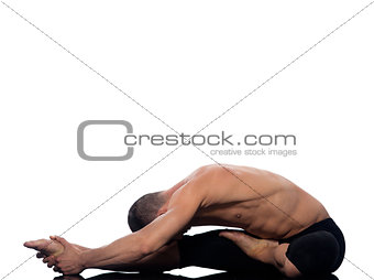 man yoga paschimottanasana pose Seated Forward Bend