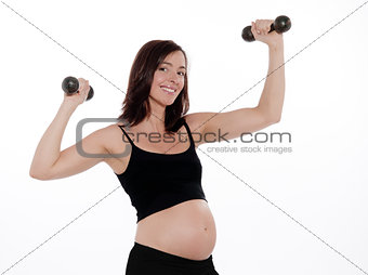 Pregnant Woman Dumbells Exercise