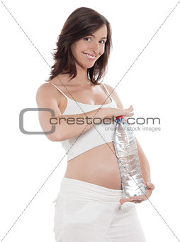 Pregnant Woman Portrait Hold Water Bottle