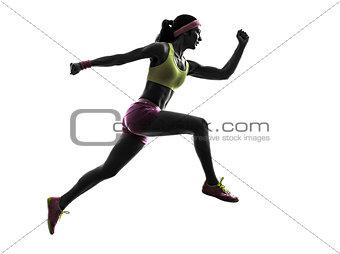 woman runner running jumping  silhouette