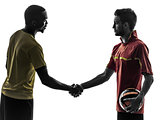 two men soccer player  handshake handshaking silhouette
