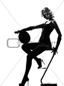 stylish silhouette woman dancing cabaret