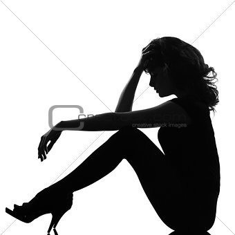 silhouette woman sitting sad pensive