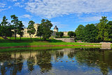 The pond and palace in Gatchina garden.