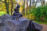 """Fountan """"Girl with Jar"""" in Catherine park in Pushkin, Russia."""