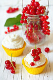 Cupcakes and berries.