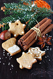 Christmas composition with cookies and spices.