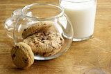breakfast cookies with chocolate and milk on a wooden table