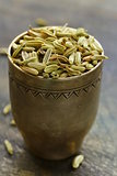macro shot fennel seeds, aromatic spice seasoning