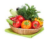 Fresh ripe vegetables in basket