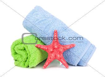 Beach towels and starfish