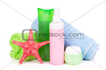Towels and beach cosmetics
