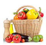 Fresh ripe vegetables in basket