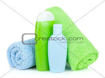Bath bottles and towels