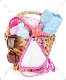 Beach items in basket