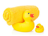 Rubber duck with bath towel
