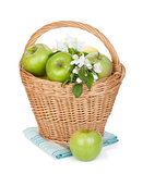 Fresh ripe green apples in basket