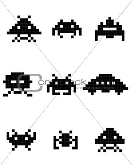 black silhouettes of space invaders