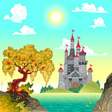 Fantasy landscape with castle.