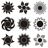 Abstract icons of sun