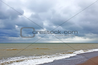Storm clouds over the sea surface