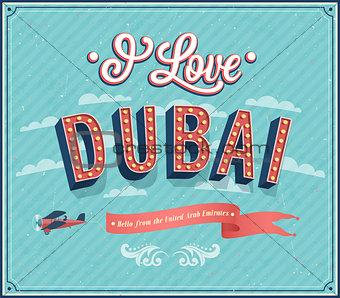 Vintage greeting card from Dubai - United Arab Emirates.