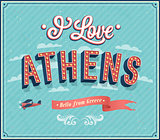 Vintage greeting card from Athens - Greece.