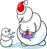christmas snowmen cartoon illustration