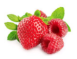 Red strawberries and raspberries