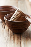 Bamboo tea strainer in a ceramic cup