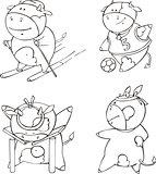 Funny sportive calf cartoons