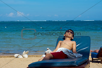 boy on tropical beach