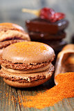 Macaroons with chocolate and chili powder.