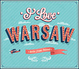 Vintage greeting card from Warsaw - Poland.