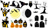 Set of graphic elements and symbols for halloween.