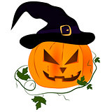 pumpkin with purple hat,